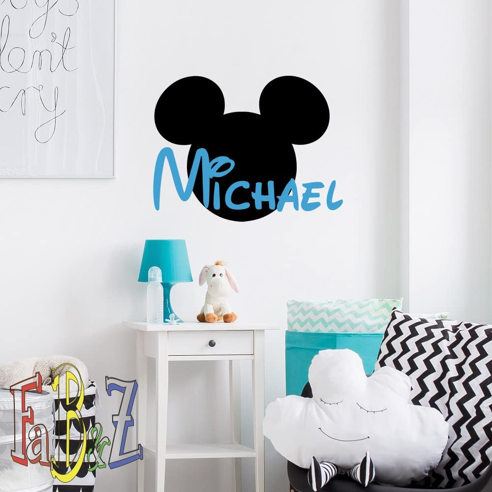 Kids Room Custom Name Mickey Mouse Vinyl Wall Decals Custom Mouse Vinyl Sticker Mickey Name Wall Art Decor for Nursery