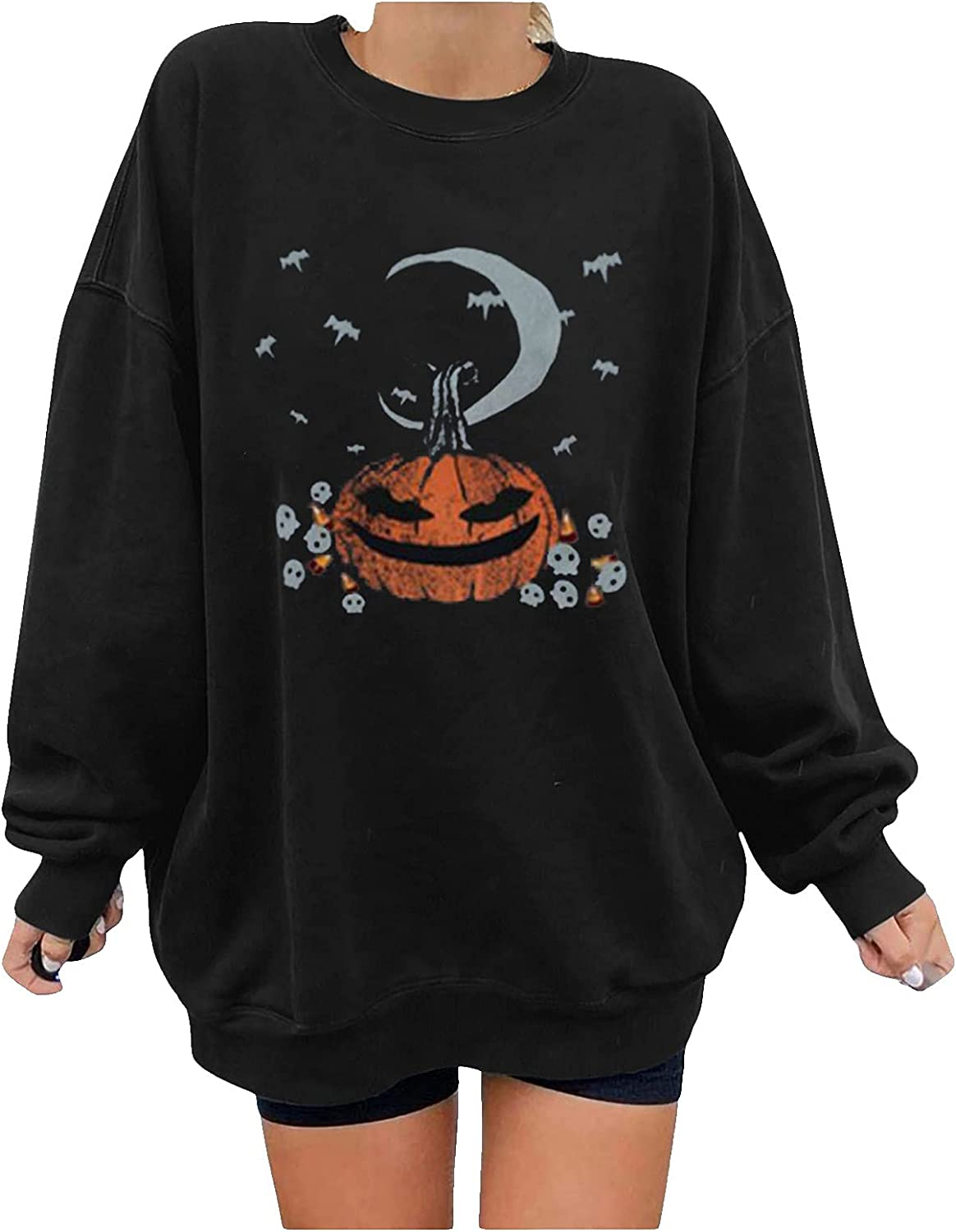 Woman Oversized Pumpkin Print Sweatershirt Halloween Loose Pullover Blouse Plus Size O Neck Long Sleeve Slouchy Tops