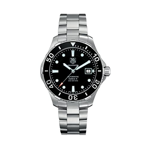 Tag Heuer Mens Aquaracer Calibre 5 Stainless Steel Black Dial Watch #WAN2110.BA0822