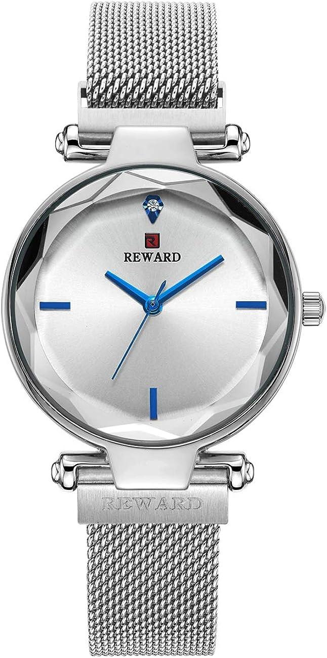 REWARD Reloj de Pulsera de Cuarzo japonés para Mujer, con Superficie de Cristal multilateral, Simple y Elegante, Regalo de Moda para niñas, Impermeable, Inoxidable