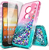 E-Began Case for Motorola Moto E5 (XT1920DL), Moto G6 Play/Moto G6 Forge with Tempered Glass Screen Protector, Glitter Flowing Liquid Floating Quicksand Diamond, Durable Girls Cute Case (Pink/Aqua)