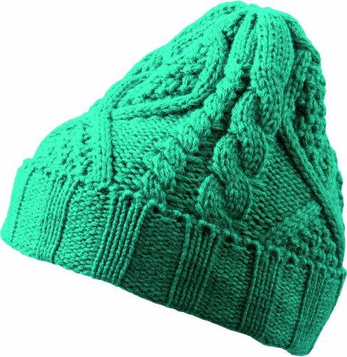 Myrtle Beach Bonnet avec Motif Plait Taille Unique Vert - Émeraude