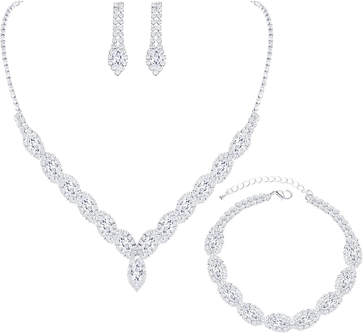 YSOUL CZ Rhinestone Necklace Earrings Jewelry Set For Bridal Bridesmaid Wedding Evening Party Prom