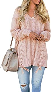 Yskkt Womens Pullover Sweaters Plus Size Cable Knit V Neck Lace Up Long Sleeve Fall Jumper Tops Pink