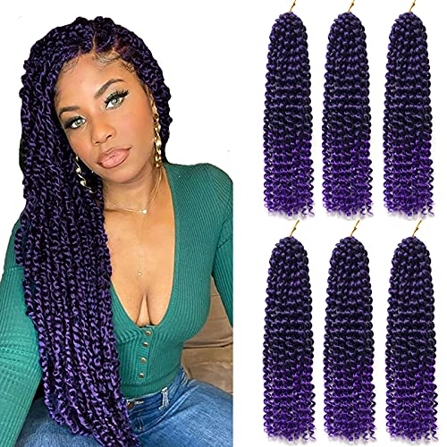 6 Packs Passion Twists Hair 18inch Ombre Purple Water Wave Crochet...