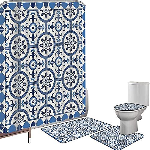 Juego de cortinas baño Accesorios baño alfombras marroquí Alfombrilla baño Alfombra contorno Cubierta del inodoro Motivos de mosaico arabescos inspirados en el estilo turco oriental en diseño retro cl