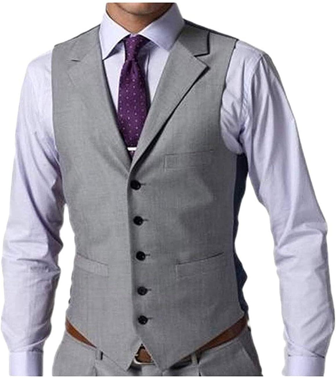 Wemaliyzd Men's Slim Fit Business Suit Vest Single Breasted V-Neck Waistcoat