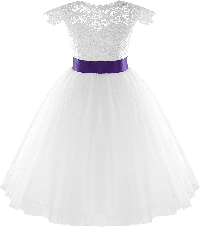 YiZYiF Kids Flower Girls Sleeveless Lace Floral Tulle Dress V Back Wedding First Communion Dresses