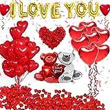 Enkomy Set de decoración de San Valentín, Globos de decoración de San Valentín Te Amo y Globos de corazón Kit con 1000 Piezas de pétalos de Rosas Rojas para Decoraciones románticas de Boda