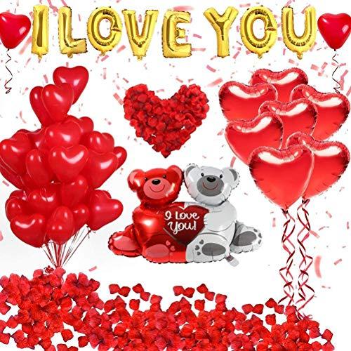shenruifa Regalo de San Valentín, decoración para el día de San Valentín, globos y globos de corazón con 1000 pétalos de rosa roja para bodas, compromisos, fiestas, suministros