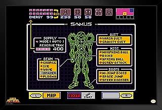 Pyramid America Super Metroid Samus Screen Video Game Gaming Black Wood Framed Art Poster 20x14 inch