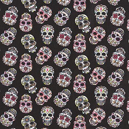 Baumwollstoff Cretonne Día de los Muertos Totenköpfe – schwarz — Meterware ab 0,5m — STANDARD 100 by OEKO-TEX® Produktklasse I — zum Nähen von Kissen/Tagesdecken, Homeaccessoires & Taschen