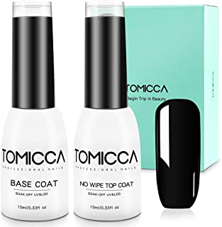 TOMICCA No Wipe Top Coat and Base Coat Set, 2x10ml Soak Off UV LED Gel Nail Polish Base and Top Coat Gel Polish Long Lasting Shine Finish (Base & Top Coat)