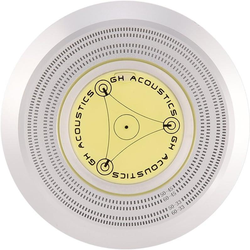 Negro aleaci/ón de Aluminio Nivel de Burbuja Placa giratoria de detecci/ón de Velocidad Disco de Vinilo LP Abrazadera del estabilizador de grabaci/ón Goshyda Estabilizador de grabaci/ón