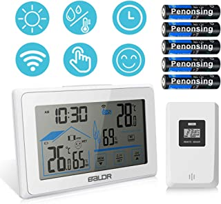 Indoor Outdoor Thermometer, Wireless Weather Station Digital Temperature and Humidity Monitor with Barometer Atomic Clock Moon Phase for Home and Office (Main Unit: 5.5 inch)