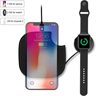 2 in 1,Travel Wireless Charger, Qi-Certified 10W Max Fast Wireless Charging Compatible with iPhone 11/11 Pro/XS MAX/XR/XS/8Plus,Apple Watch 1/2/3/4,Airpods,Galaxy S10/S10+/S10E/S9/S9+,(No AC Adapter)