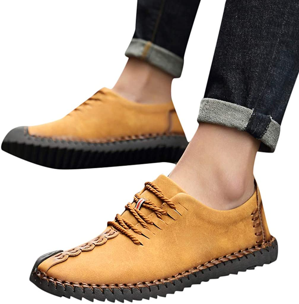 Men Moccasin Trainers,Man Casual Lace-Up Business Shoes Sports Running Sneakers for Office Work Athletic Walking Gym