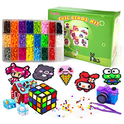 Fuse Beads Kit 6800 pcs 24 Colors Iron Fuse Beads with 3 Pegboards 63 Patterns Fuse Beads Crafts for Kids Boys Girls Art and Crafts Supplies Classroom Activity Birthday Gift