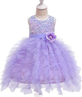 BCSHF Vestido de Princesa de Las niñas Vestidos de Las Muchachas de Flor Vestidos de Las niñas de Las Lentejuelas de Malla...