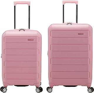 Traveler's Choice Pagosa Indestructible Hardshell Expandable Spinner Luggage, Pink, 2-Piece Set (22/26)