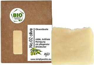 Mijo No.02 Bio Olivenölseife handgemachte rückfettende Naturseife mit Sheabutter ohne Palmöl, ohne Duft, vegan ca. 100g
