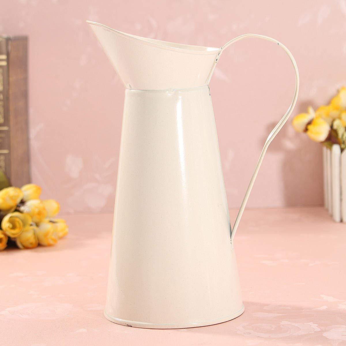 Blanco Vintage Shabby Chic crema jarrón esmalte jarra jarra maceta altura Metal decoración de boda: Amazon.es: Hogar