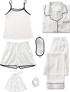 Pijama de satén de Dos Piezas para Mujer, Traje de casa Femenino Largo con Top y pantalón Largo, Conjunto de Pijama de Ropa de Dormir de Verano de Cuatro Estaciones, Ropa de Dormir 7PC S-XXL