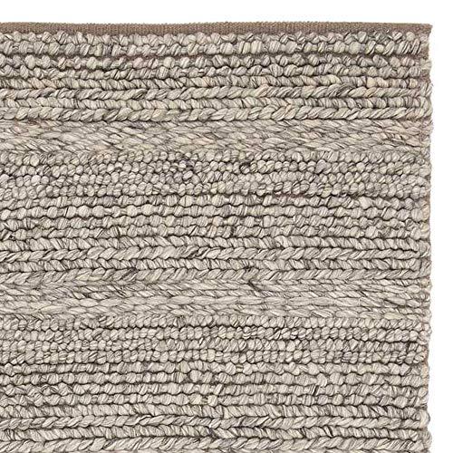 """URBANARA Teppich """"Kalgi"""" aus 100% Woll – und Baumwollmischung, Eierschale/Grau/Hellbraun in Grobstrick – 140 x 200 cm für Wohnzimmer/Schlafzimmer"""