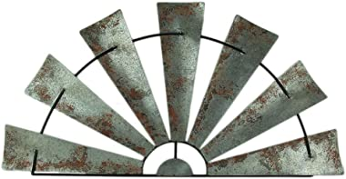 Zeckos 48 Inch Galvanized Metal Half-Windmill Wall Sculpture Large Rustic Home Decor Country Farmhouse Art Decoration