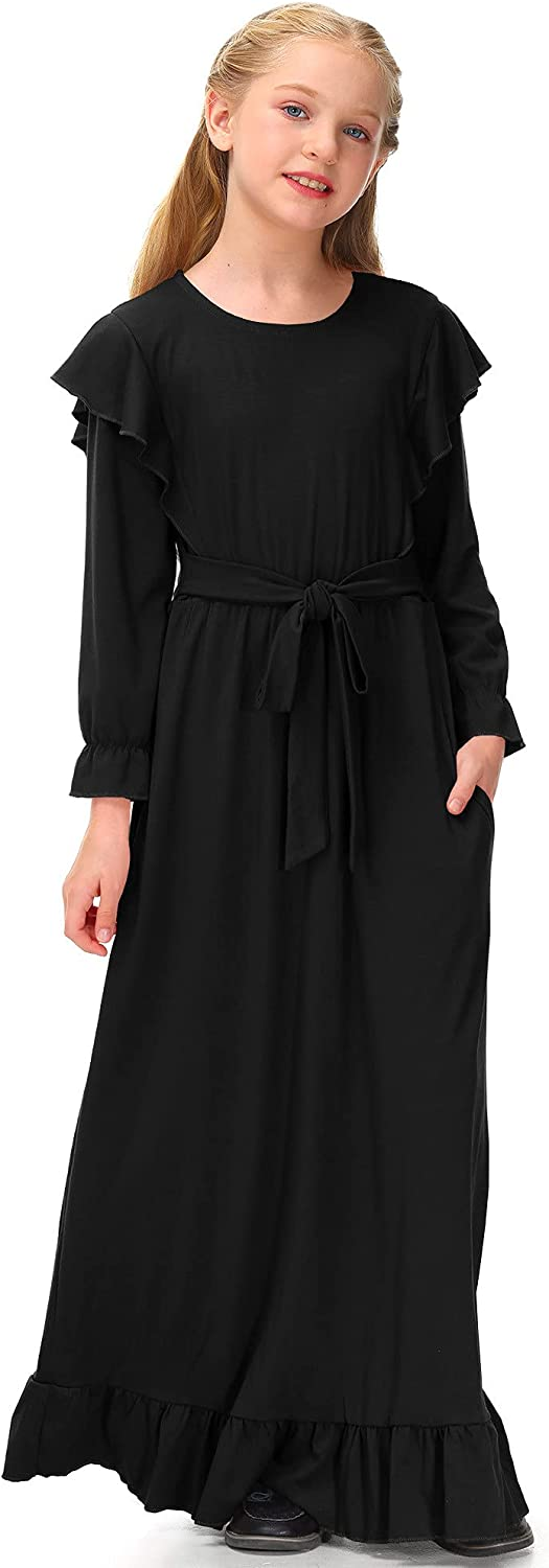 BesserBay Girls Long Sleeve Ruffle Solid Maxi Fall Dress with Pockets 5-14 Years