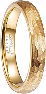 4mm Hammered 18K Gold Plated Tungsten Carbide Ring for Men Women Comfort Fit Size 5-12