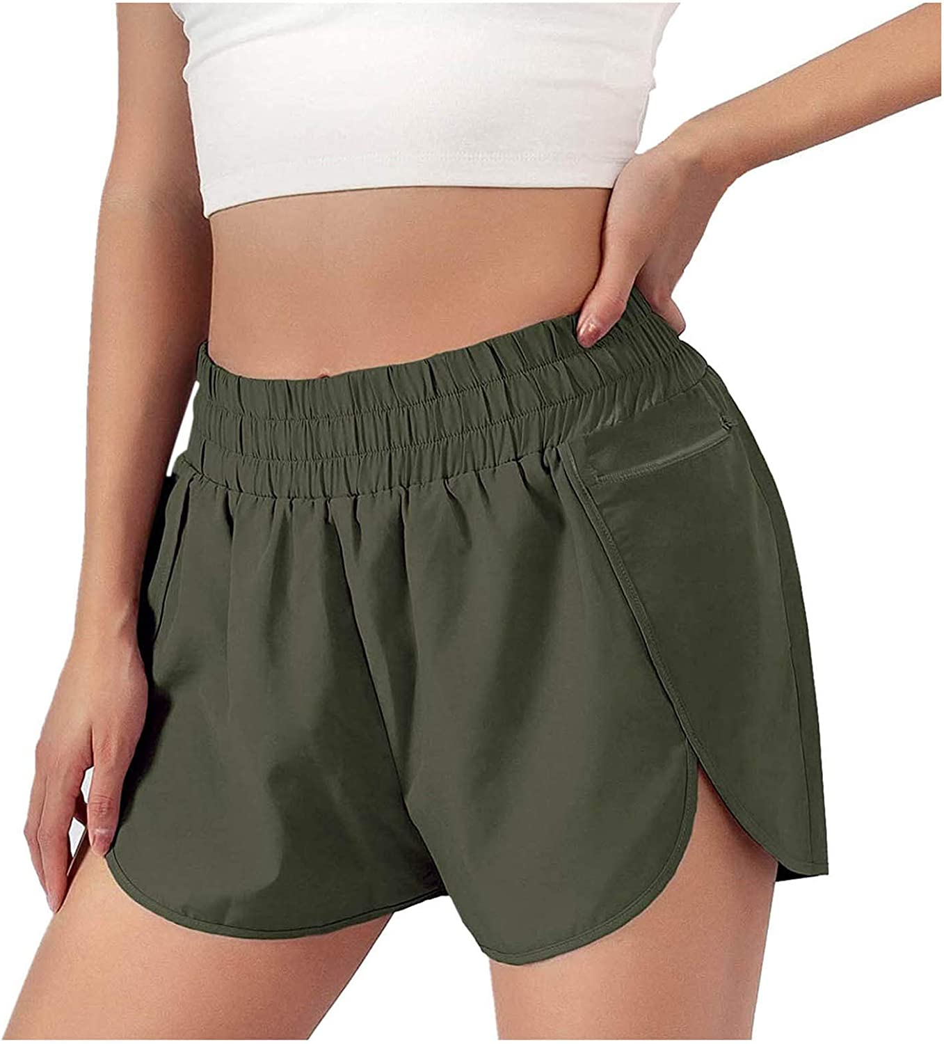 COMVALUE Womens Shorts for Summer,Women's Solid Elastic Waist Casual Comfy Beach Sports Shorts with Pocket
