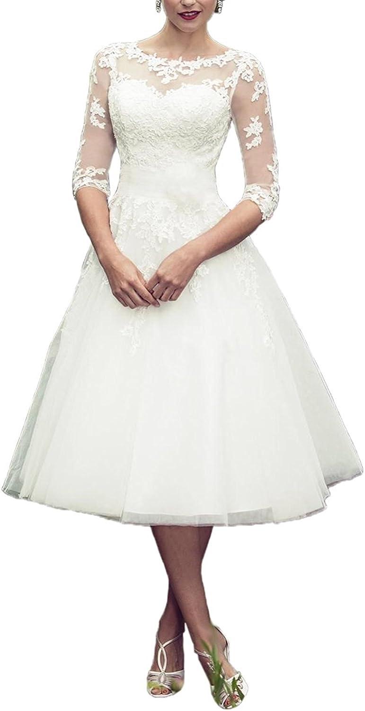 YAXIU Women's Wedding Dresses 3/4 Sleeve Bride Gown Short Tea Length Vintage Lace A-Line Wedding Dress Plus Size