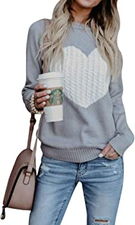 Women's Pullovers Sweater Cute Heart Crew Neck Loose Long Sleeve Knits Sweater