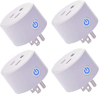 Mini Smart Plug Outlet Compatible with Alexa Google Assistant IFTTT, No Hub Required Which Mini Outlet with Timer Wifi Enabled Remote Control Smart Socket Wireless, ETL and FCC Listed(4 pieces)