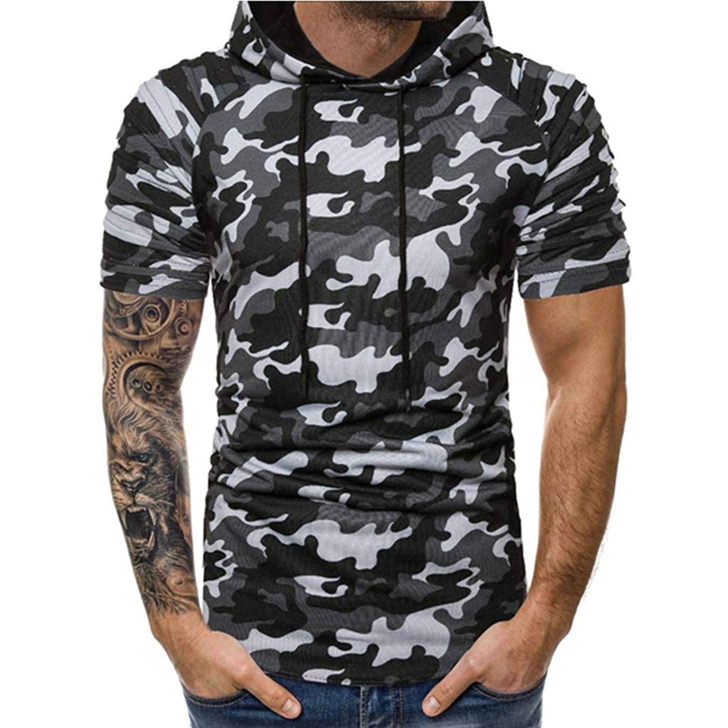 HimTak Men's Hooded Camouflage Pleated Short Sleeve Shirt Camouflage Trendy Stitching Casual Sports Lapel t-Shirt