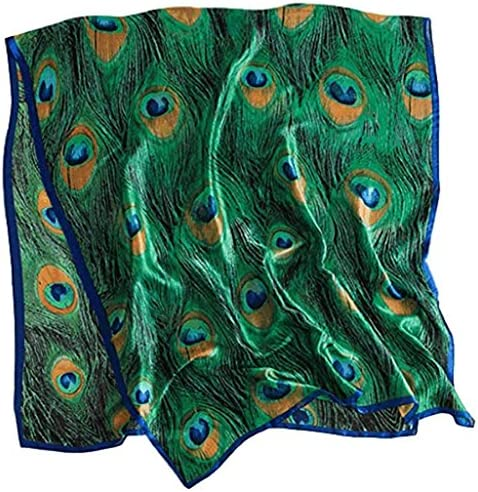 Women Silk Peacock Feather Print Scarf Pashmina Long Oversized Wrap Shawl Headscarf product image