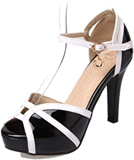 Plus Size Women Patent Leather High Heel Sandals Ankle Strap Mix Color Sandals Summer Sexy Party Shoes Women