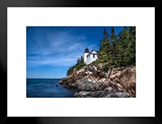 Poster Foundry Living on The Edge Lighthouse on Coast of Maine Photo Art Print Matted Framed Wall Art 26x20 inch