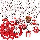 Kit de Decoración de San Valentín 20 Guirnaldas Colgantes con 10 Tarjetas 200 piezas Confeti de Corazón Roja Adorno Boda Fiesta San Valentín Cumpleaños Navidad Compromiso