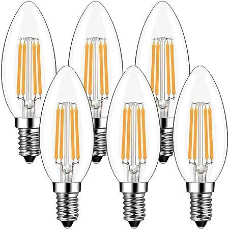 Bougie Ampoules LED E14 4W, GreeHse E14 Ampoule LED à Filament Blanc Chaud 2700K, 420Lm Equivalent à Ampoule Incandescente 40W, Petit culot à vis Non Dimmable Lot de 6