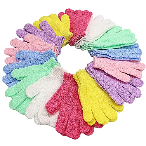 14 Pairs Double Sided Exfoliating Gloves,Scrub Exfoliating Mitts,Shower Body Scrubber,Dead Skin Cell Remover,Bath Gloves for Shower,Spa,Massage and Body Scrubs