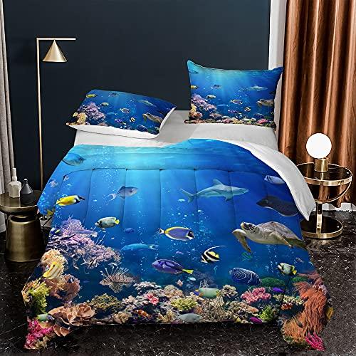 MOUMOUHOME Juego de edredón azul océano tamaño Queen 3D Print Sea World Fishes Tortugas nórdicos subacuáticos Plantas de coral impresas juego de cama para niños y niñas 1 edredón 2 fundas de almohada