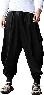 COOFANDY Men Drop Crotch Pants Hippie Baggy Harem Pant Linen Yoga Casual Trouser