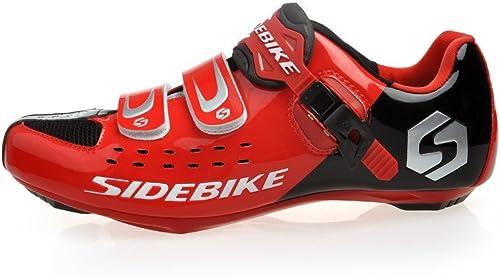 Skyrocket Flyling Chaussures vélo de Route Homme et Femme Chaussure de Cyclisme (SD001 Rouge - Noir, 45)