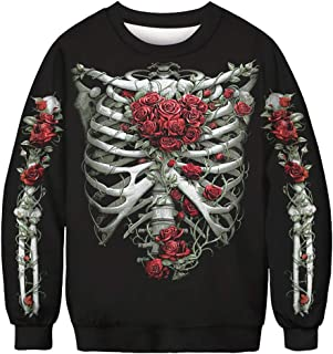 Men Women Pullover Cat Skeleton 3D Print Long Sleeve Sweatshirt Top Blouse Halloween