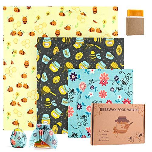 joyoldelf Emballage Cire d'abeille, Réutilisable de Cire d'abeille Ensemble,Emballage Alimentaire Naturels et Écologique,Biologique,Biodégradable,pour Sandwichs Fruits Collations.(7PCS)