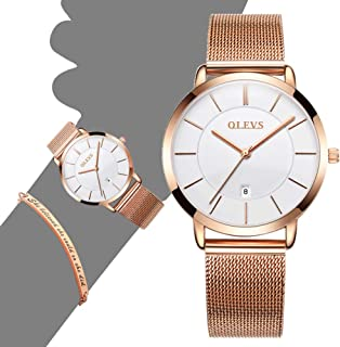 OLEVS Minimalist Ultra Thin Diamond Dress Watches for Women/Men and Eiffel Tower Bracelet Gift Set Rose Gold Simple Casual Slim Big Face Analog Wristwatch Waterproof with Stainless Steel Band