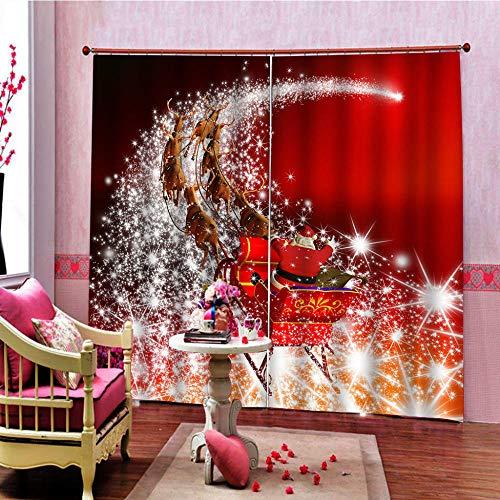 ZHHSJJ Gardinen Blickdicht Schlitten 2 x B117 x H138cm Lichtundurchlässige Vorhang mit Ösen für Schlafzimmer Geräuschreduzierung