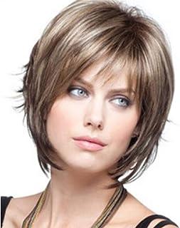 Peluca Sgearf de cabello corto estilo bob muy suave y resistente al calor. Peluca femenina de fibra sintética de color castaño claro para cosplay y fiestas temáticas